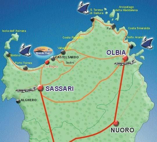 Cartina Sardegna Con Hotel.Rosa Dei Venti Maps