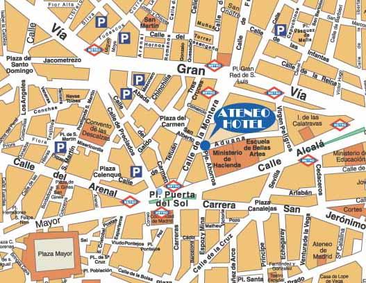 Mapa Puerta Del Sol.Mapa De Ateneo Hotel Puerta Del Sol