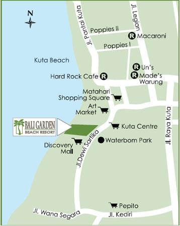 Maps For Hotel Bali Garden Beach Resort