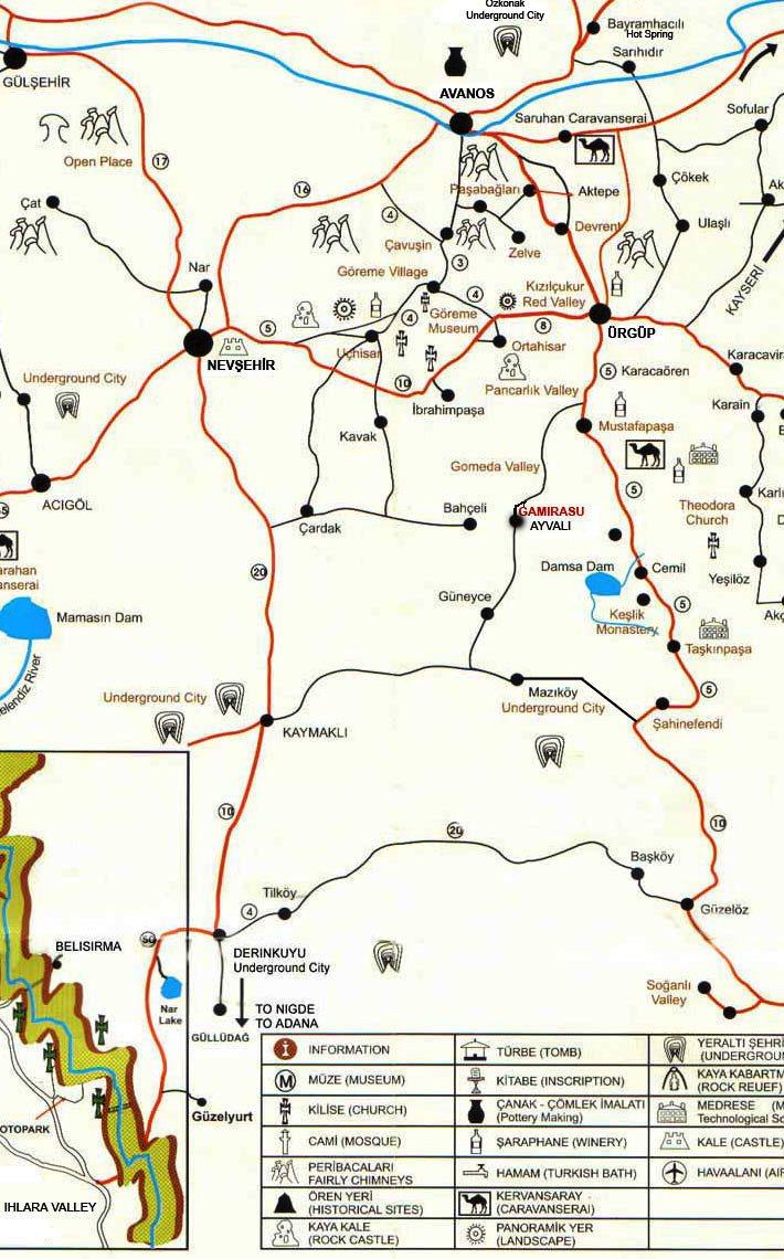 kappadókia térkép Maps for Cappadocia Cave Suites
