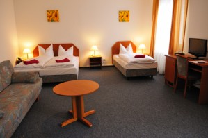 4 person extra large 1 room suite with city view, queen bed, and private facilities