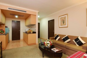 4 person extra large 2 room apartment with pool view, balcony, and private facilities (bath)