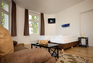 8 person large 3 room apartment with city view, and private facilities (bath and shower)