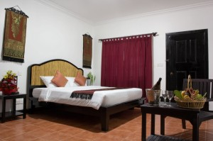 Deluxe double with pool view, king bed, and private shower shared toilet