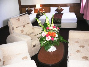 1 person junior suite with private facilities (bath and shower), and breakfast