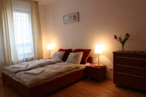 2 person deluxe 2 room apartment with city view, king bed, an extra bed, and private facilities (bath and shower)